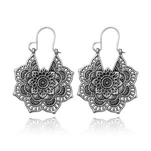 Antique Silver Gypsy Hoop Dangle Earrings